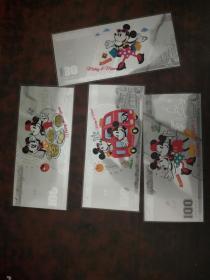 迪士尼纪念银钞4张一套品好