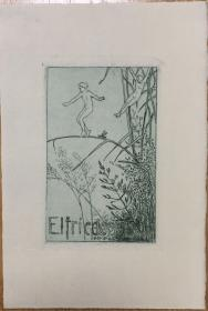 德国著名艺术家Robert Budzinski铜版藏书票水草中的精灵