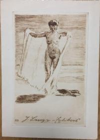 德国著名艺术家Robert Budzinski铜版藏书票海滩裸女