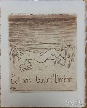 德国著名艺术家Robert Budzinski铜版藏书票沙滩熟睡的裸女