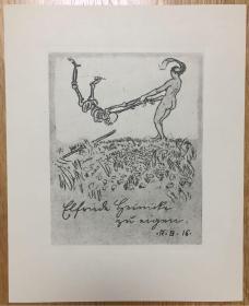 德国著名艺术家Robert Budzinski铜版藏书票与死神起舞的女子