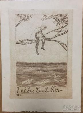 德国著名艺术家Robert Budzinski铜版藏书票思恋