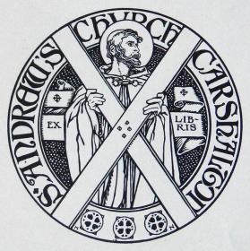 """""""新艺术名作""""英国艺术家""""Harold E.H.Nelson""""线刻藏书票—《耶稣与十字架》"""