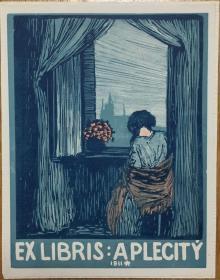 捷克新艺术风格木刻套色藏书票窗台边思念的姑娘
