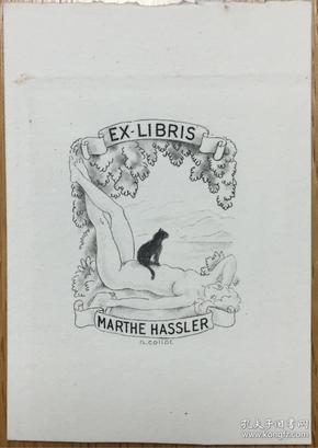 早期铜版藏书票裸女和猫