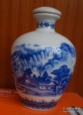 收藏酒瓶 山水小船农舍青花瓷酒瓶高20厘米二斤装 无磕碰(x6)