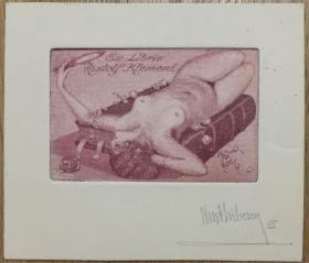 奥地利艺术家Kurt Libesny精品藏书票书本上照镜子的女人