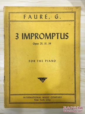 3 impromptus 3首即兴钢琴曲 老乐谱