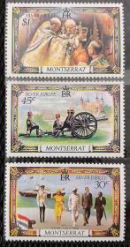 蒙特塞拉特1977年  伊丽莎白访问\加冕\礼炮\国旗 3全 新 实拍
