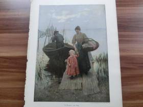 【現貨 包郵】1890年彩色平版印刷畫《小碼頭》(Am Steg)尺寸約41*29厘米 (貨號601888)