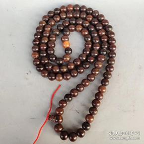 清末,108颗老牛角佛珠串,每颗珠子直径1.8cm,重370克'