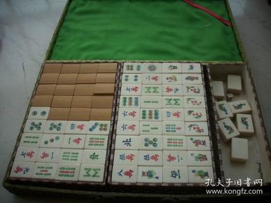 早期【麻将】一套全,带12张花牌,附原盒