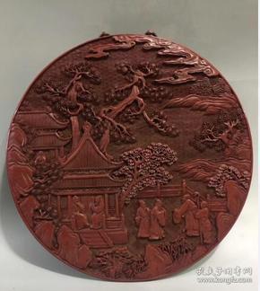 漆器挂屏 剔红漆器浮雕挂牌