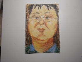 《胖女孩》(画家佚名  90年代蜡笔画)