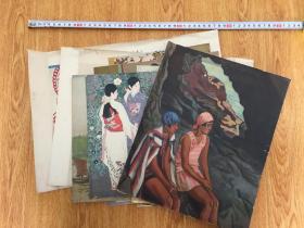 民国日本印刷《少女》《美妇人》《舰船》等画作11张合售,大都是美人画作