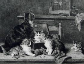 """1887年法国艺术系列蚀刻铜版画《猫的一家》—法国画家""""L.EUG LAMBERT """"作品  41x29cm"""