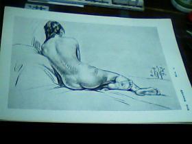 8开素描单页女人体 刘文西画