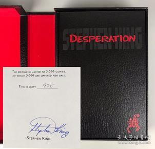 【斯蒂芬·金限量签名本】1996年美国著名作家斯蒂芬·金限量签名本DESPERATION 《绝望》(又译《绝望生机》) 特装大开本 1996年美国初版初印 品佳保存完整带书盒 斯蒂芬金亲笔签名 非常难得【国内现货】Stephen King