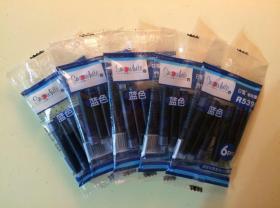 白雪钢笔墨囊R5399袋装(6支*5袋)  蓝色 适配白雪直液式换囊钢笔