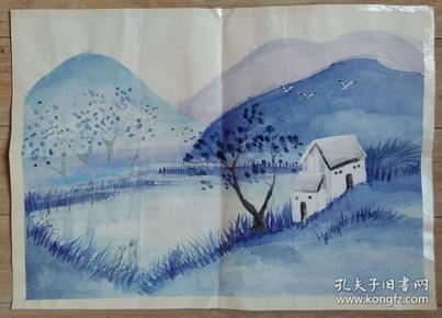 粉彩画【深山小庙】 37X48厘米