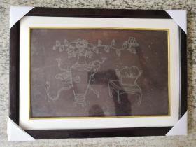 清代大漆嵌银博古清供木雕花板(已装框)