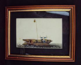 清代 广州的鸭艇 外销水彩画 通草画