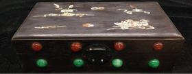 檀木镶贝壳镶玛瑙首饰盒 民国家具 重量867g