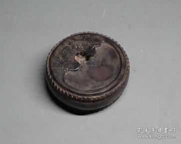 老坑端石手工精雕鼓形砚 刻铭文