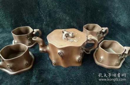 老梅花砂壶茶具一套