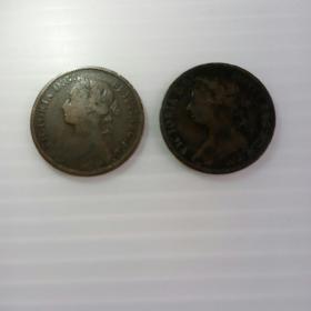 英国1886和1894年维多利亚女王头像1法新铜币各一枚。