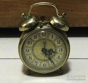 怀旧老闹钟北极星小双铃全铜机芯小闹钟正常走时
