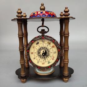 铜景泰蓝十二生肖八卦机械表  带指南针尺寸重量如图
