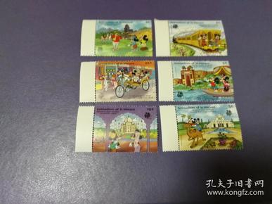 外国邮票 圣文森特1989年米奇游印度-印度风情古迹 迪斯尼卡通邮票 6全(无邮戳新票)