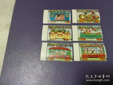 外国邮票 圣文森特 迪士尼卡通邮票 圣诞邮票 米奇的圣诞列车 6全(无邮戳新票)