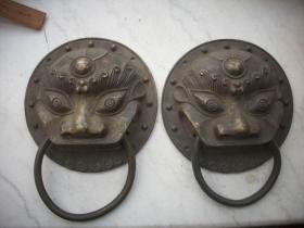从门上拆下-黄铜【狮子头铜挂】门环一对!长20.5/20.5厘米,重4.2斤