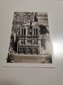 原版明信片 巴黎圣母院 实寄片 六寸