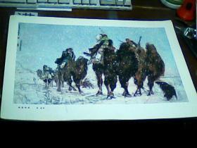 老版8开美术作品散页 1张 洪荒风雪 黄胄作