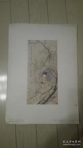 珂罗版散页一张;梅花女士/胡公寿、任阜长合作、38x27cm。上海文华美术书店印行,序号;24