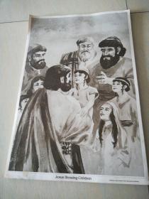 JESUS BLESSING CHILDREN(鲍勃琼斯大学出版社原版画)