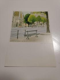 原版明信片 日本 巴黎手绘街景 新片 六寸