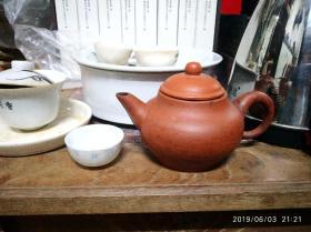 晚清潮州茶壶,源兴号,朱泥壶,10小杯左右,潮州工夫茶具