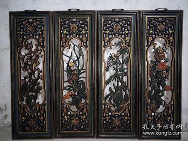 民国老漆器,镂空精雕梅.兰.竹.菊屏风一套,单块尺寸:高94厘米,宽31厘米、
