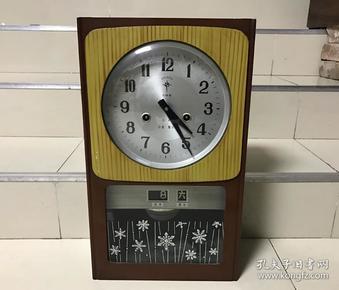 古董老挂钟北极星30天机械上弦带星期日历挂钟座钟正常走时