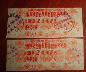 中国工商银行---武汉市分行【积零成整有奖集体储蓄兑奖券(第1期2组1次)兑奖券号码:0198798、0198298】2张合售、品相以图片为准