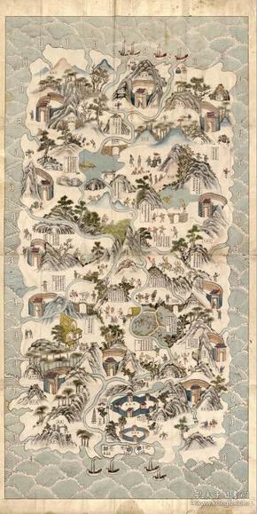 《海南老地图》《海南地图》《海口老地图》《文昌老地图》《琼州老地图》《三亚老地图》《儋州老地图》《崖州老地图》《文昌老地图》《定安老地图》《会同老地图》《昌华老地图》《澄迈老地图》,清手绘琼州(海南岛)全图,图中绘制海南岛原住民风貌信息。原图现藏国外,原图高清复制。52*102CM,裱框后,观赏价值颇高。