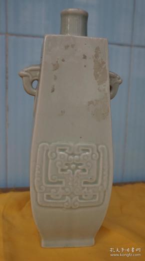收藏酒瓶 双耳古龙图青瓷老方酒瓶高22厘米一斤装无盖 原物拍照无磕碰x2