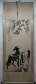 清风阁画廊-著名书画家-徐悲鸿-双马(纯手绘)-立轴-3026