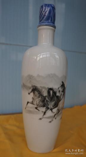 收藏酒瓶 水墨画马到成功酒瓶高29厘米一斤装x3