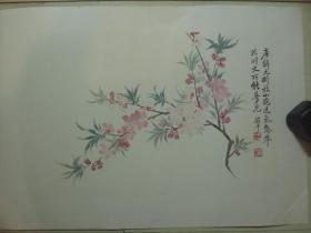 早期木板水印镜心(49.5*35.2CM):恽寿平   桃花