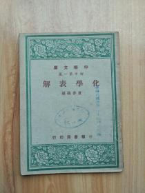 中华文库 初中第一集 化学表解